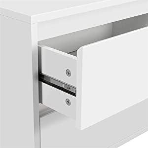 Yaheetech 2pcs Nightstands Bedside Table with 2 Storage Drawers Iron Legs - Coffee Table Bedside Storage Cabinet for Bedroom, 19.7Lx15.7Wx22.4H Inch, White