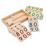 jiheousty Niños Número de Madera 1-9000 Tarjetas Montessori Toys Educación...