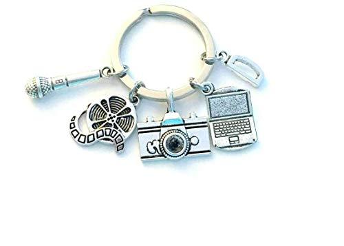 Personalisierbarer Journalisten-Schlüsselanhänger, Social-Media-Schlüsselanhänger, Laptop, Mikrofon, Kamera