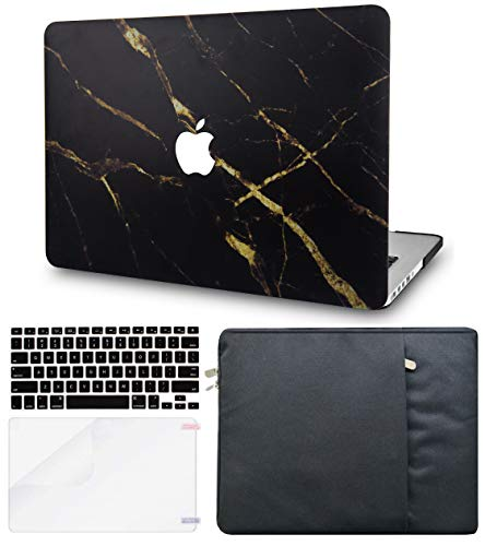 LuvCase 4in1 LaptopCase ForMacBookPro 13'(2020/2019/2018/2017/2016) w/wo Touch Bar A2159/A1989/A1706/A1708 HardShell Cover, Sleeve, Keyboard Cover & Screen Protector (Black Gold Marble)