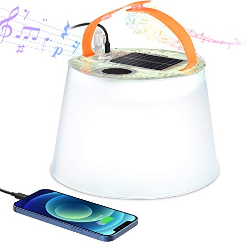 RUNACC Lámpara Solar de Camping Inflable - Portátil IP66 Impermeable Luz Camping con Banco de Energía 2000mAh Lampara Camping Recargable Bocina Bluetooth Linterna Camping para Camping & Pesca