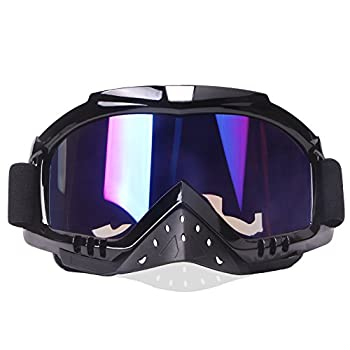 Motocross Goggles Motorcycle Goggles for Helmet Dmeixs Anti UV Windproof Dustproof Anti Fog Glasses for ATV Off Road Racing with Look Headwear Colorful Lens 2 in 1