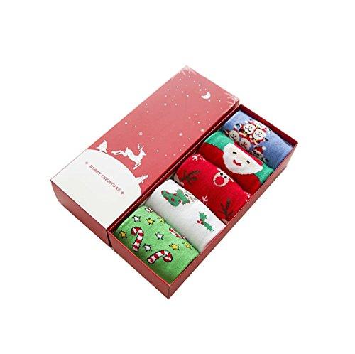 Socken Kolylong® 5 Paar Damen Mädchen Weihnachten Neuheit Socken Herbst Winter Unisex Warm Cartoon Socken Elastisch Sport Socken Mehrfarben Knöchelsocken Christmas Stocking (A)