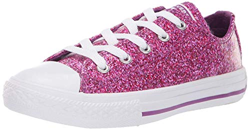 Converse Girls' Chuck Taylor All Star Glitter Coated Low Top Sneaker, icon Violet White, 1 M US Little Kid