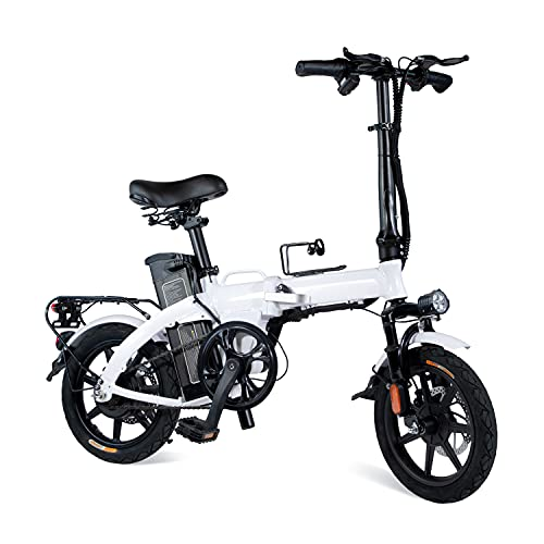 XPRIT Folding Electric Bike, Light Weight, LCD Display, Full Throttle/Pedal Assist (14'' Folding-White)