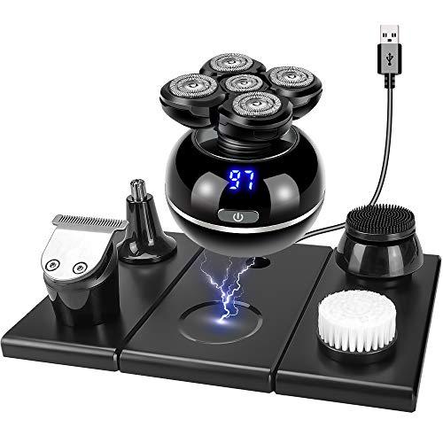 Glatzen Rasierer Herren, 5 IN 1 Herren-Elektrorasierer Kopfrasierer LED-Display, 5D Rasierer für Kopf/Glatze/Gesicht, Nass & Trockenrasierer Rasierapparat Bartschneider - USB C&Kabelloses Laden