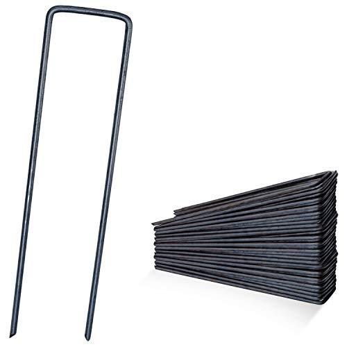 DAWIDU Erdanker Bodenanker aus Stahl - 50 x Stahl Erdnägel - 150mm lang x 30mm breit - Ø 3mm - Stabile & sichere Befestigung für Unkrautvlies Gartenvlies, Zaun & Camping Zelt - Silber