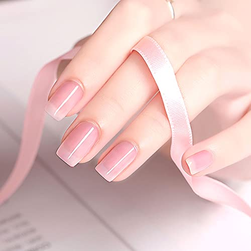 Clear pink gel nails _image1