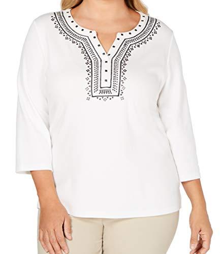 Karen Scott Plus Size Embellished Split-Neck Top (White, 1X)