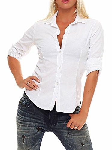 Malito Damen Bluse klassisch | Tunika mit ¾ Armen | Blusenshirt auch Langarm tragbar | Elegant - Shirt 8030 (weiß, S)