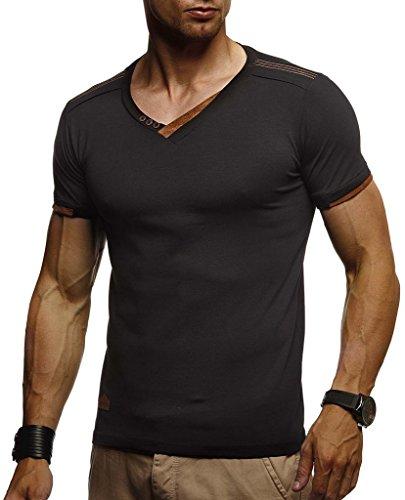 Leif Nelson Herren Sommer T-Shirt V-Ausschnitt Slim Fit Baumwolle-Anteil Moderner Männer T-Shirt V-Neck Hoodie-Sweatshirt Kurzarm lang LN1355 Schwarz Medium