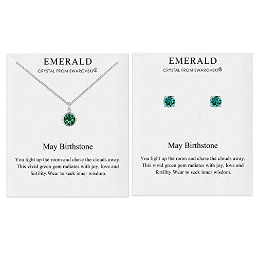 Philip Jones May (Emerald) Birthstone Necklace & Earrings Set Created with Austrian Crystals