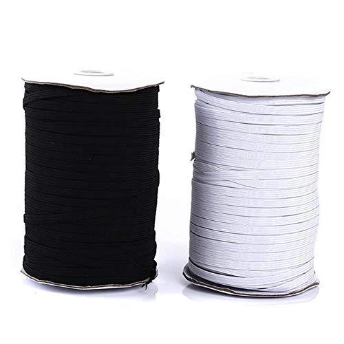 Witte lijm 200yards vlakke naad/elastisch koord zwarte hand genaaid naaien materiaal DIY masker elastische band voor DIY,3 mm,200 yards