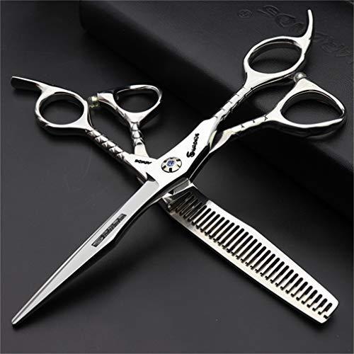 Crrs Silver Professional 6.0 Pulgadas Pelo Corte Tijeras thinning Shears High-End Barber Set peluquería peluquería Home Salon Beauty Care Steel Kit Hombres, Mujeres
