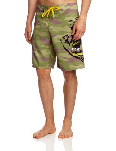 Santa Cruz Camo Hand Boardshort de Bain pour Homme - Vert - Medium