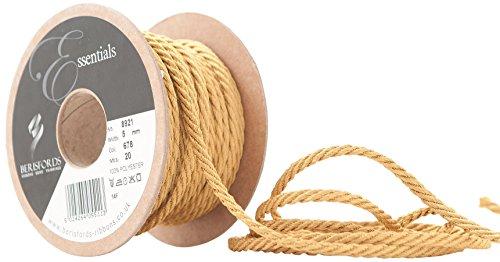 Berisfords Cordón Entrelazado 5mm x 20m, Color Dorado Miel