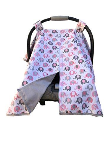 effe bebe Vera Elephant 100% Breathable Cotton Baby Car Seat Cover (Petal Grey)