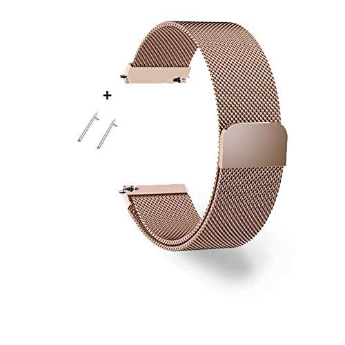 Correa de Reloj Cadena de Reloj de Acero Inoxidable con Correa de Malla magnética Color rápido Transpirable y Resistente al Sudor Longitud Ajustable, Oro rosa-18 mm