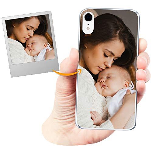 Coverpersonalizzate.it Cover Personalizzata per Apple iPhone XRcon la Tua Foto, Immagine o Scritta - Custodia Morbida in TPU Gel Trasparente - Stampa di altissima qualità