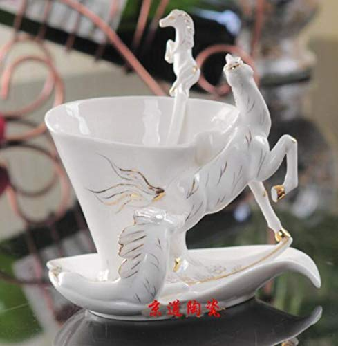 Copa De Vino Horse Enamel Coffee Cup Porcelain Tea Milk Set Creative...
