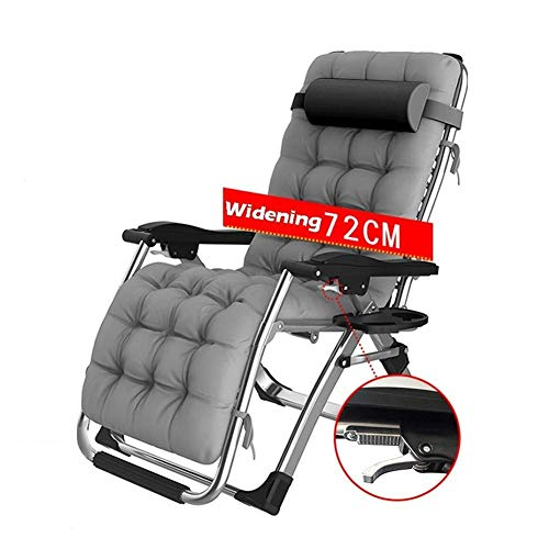 Anzkzo Garden Chairs Sunloungers Zero Gravity Chair Extra Wide 72 cm With Padded Balcony Camping Reclining Maximum load 200 kg- Gray