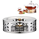 Tea Warmer,Stainless Steel Warmer Base,Round Tea Warmer,Teapot Warmers,for Coffee,Tea and Food Warmer,for Heat Resistant Teapot (B)