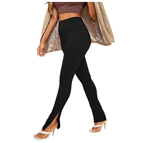 Pantalones de Yoga Moda para Mujer Deportes Casuales Color sólido Cintura Alta Pantalones de Yoga Ajustados Negro M
