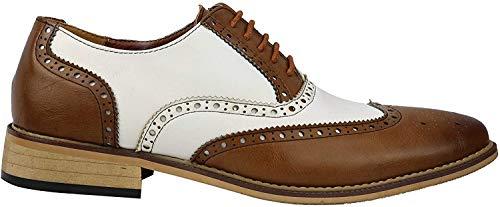 Herren Brogue-Schuhe, klassisch, Leder gefüttert, zweifarbig, für Büro und Arbeit, mit Schnürsenkeln, Weiß - Weißbraun - Größe: 40 2/3 EU