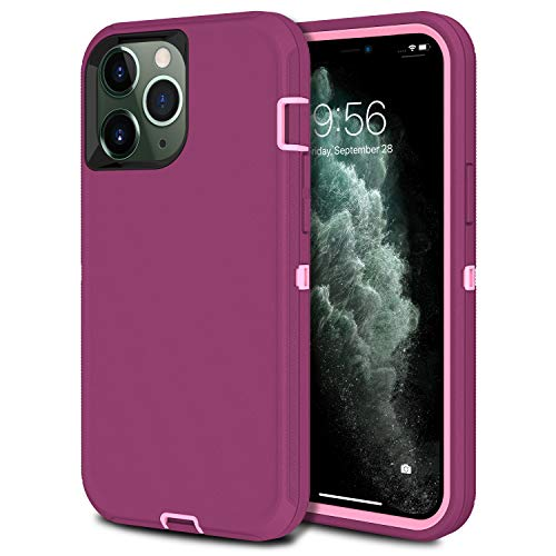 MXX Heavy Duty Protective Case Compatible with iPhone 12 Pro Max [No Built in Screen Protector] [3 Layers] Rugged Rubber Shockproof Protection Cover Compatible with iPhone 12 Pro Max (Plum/Light Pink)
