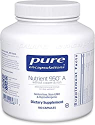 Pure Encapsulations - Nutrient 950 A Without Copper & Iron - Hypoallergenic Multi-Vitamin/Mineral Formula for Optimal Health - 180 Capsules