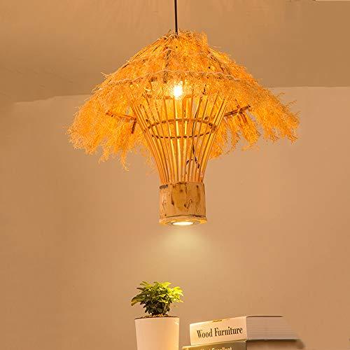 Crayom Lámpara colgante hecha a mano de mimbre para techo, iluminación, madera, resina, fibra, lámparas de suspensión, accesorio E27, accesorio de base, decoración interior, iluminación techo colgante