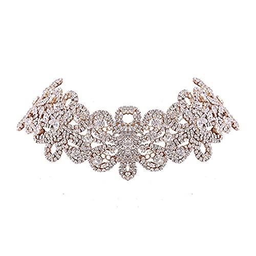 Collar collar con diamantes de imitación de flor gargantilla para mujer grueso Declaración Chocker Collar joyería cuello (color metal: color oro)