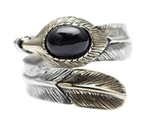 RXSHOUSH Anillos para hombres plata 925 negro ágata pluma anillo abierto dominante joyería Ins novio hijo Lucky anillo