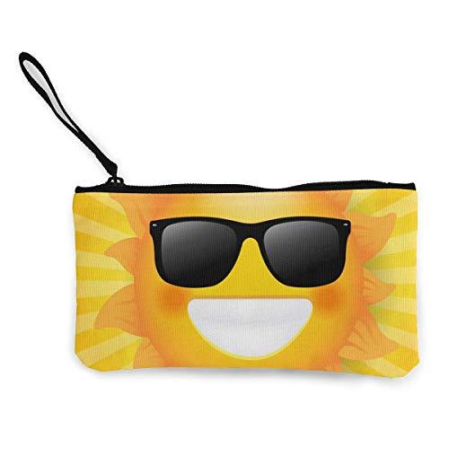 Sonne mit Sonnenbrille isoliert Sunburst Leinwand Geldbörse Exquisite Münzgeldbörsen Kleine Leinwand Geldbörse Wird verwendet, um Münzwechsel, ID und andere zu halten