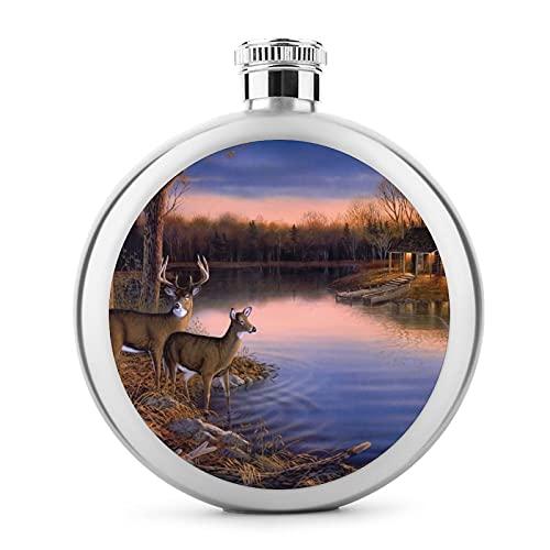 Termo de acero inoxidable redondo duradero para whisky, 5 onzas para hombres/mujeres, portátil, a prueba de fugas, para alcohol, bebida, vodka, ron, vino, ciervos en el Ege del río