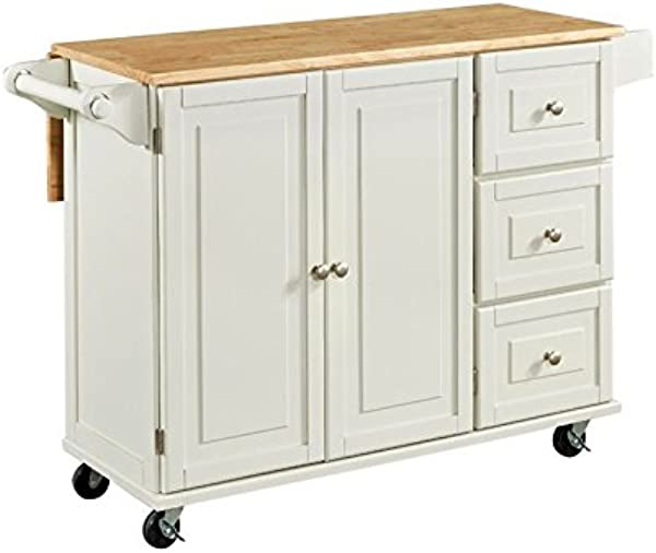 Hawthorne Collections Wood Top Kitchen Cart In White