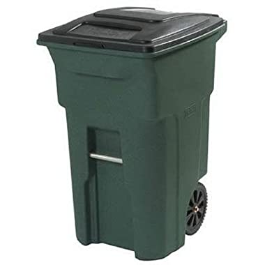 Toter 025564-R1GRS Residential Heavy Duty 2-Wheeled Trash Can with Attached Lid, 64-Gallon, Greenstone