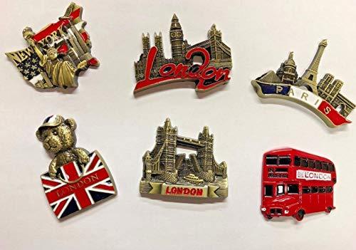 DEALBOX 3D 6 PCS Fridge Magnet Paris NewYork London Bus England souvenirs fridge Uk Stock