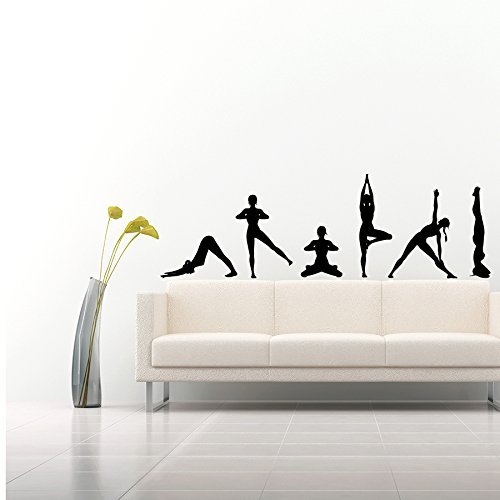 Wandtattoo Yogaübungen Silhouetten Dies Position Yoga Namaste Yoga Studio Fitness Yoga-Studio Wandaufkleber Schlafzimmer Vinyl Aufkleber Wanddeko Fototapete Dekoration für Zuhause Wandsticker Wandbilder