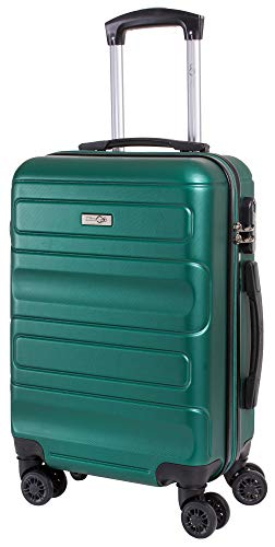 CABIN GO MAX 5515 Valigia Trolley ABS, bagaglio a mano 55x37x20, Valigia rigida, guscio duro e antigraffio con 8 ruote, Ideale a bordo di Ryanair, Alitalia, Air Italy, easyJet, Lufthansa VERDE