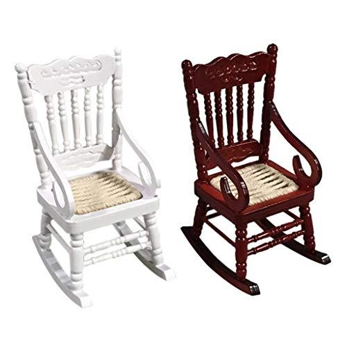Lumumi 1:12 Doll House Furniture, Miniature Wooden Rocking Chair Kids Pretend Play Toy -  Crolomi