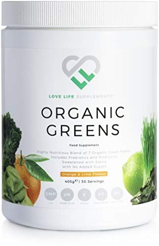 Organic Greens by LLS | 405g - 30 Servings | Orange and Lime Flavour | A Blend of 7 Organic Green Plants | Includes Prebiotics and Probiotics