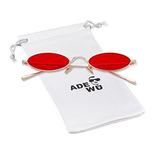 ADEWU Gafas de sol para mujer, gafas ovaladas pequeñas Gafas vintage redondas con borde de metal fino