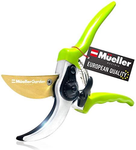 "Mueller Heavy Duty Garden Shears, Hand Pruner, Bypass Shears, Durable Hardened Titanium Blades, 1.2"" Cutting Diameter, Blade Lock, Ergonomic Grip"