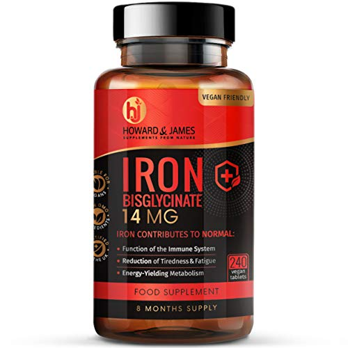 Gentle Iron Tablets 14mg - 240 Vegan Tablets (8 Month Supply of Iron Supplements) - Contributes to The Reduction of Tiredness and Fatigue - Iron Bisglycinate - Made in The UK by Howard & James