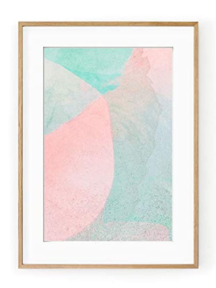 Abstract Green and Orange Solid Oak Natural Frame with Mount, Multicolored, 50x70 r2473192850
