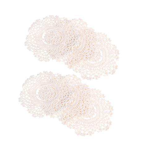 Hemoton 6 stücke runde Spitze häkeln bahnen Baumwolle bahnen handgemachte Vintage Tasse matten Trinken Pads hohl tischsets für zuhause Restaurant bar Cafe (14 cm)