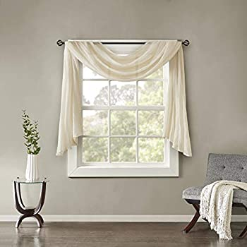 Luxury Off White Window Scarf Valance Solid Color Texture Window Curtain Scarves Topper Simple Plain Beautiful Sheer Scarf Valance Window Treatment Decorative Lightweight Quality Polyester 42 x144