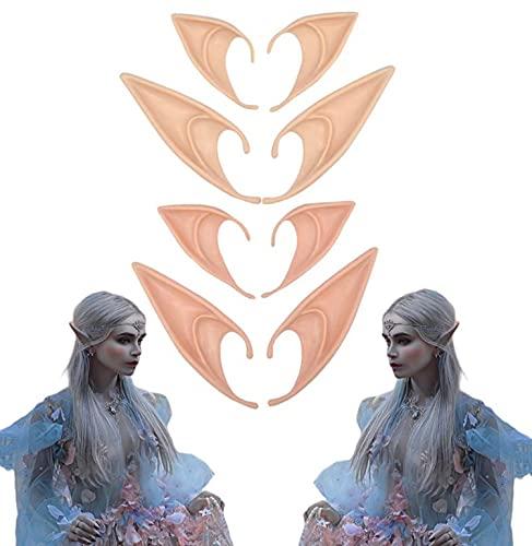 Ninevi 4Pcs Orejas de Hadas, Orejas de Hadas Divertidas, Orejas de Duende, Orejas de Hadas de Látex, Orejas De Elfo Cosplay, Orejas de Elfo, Accesorios de Disfraces, Carnaval, Fiesta de Halloween
