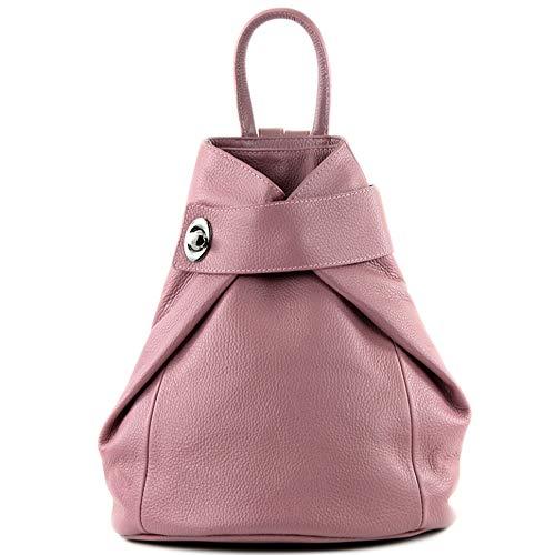 modamoda de - T179 - ital: Damen Rucksack Tasche aus Leder, Farbe:Altrosa